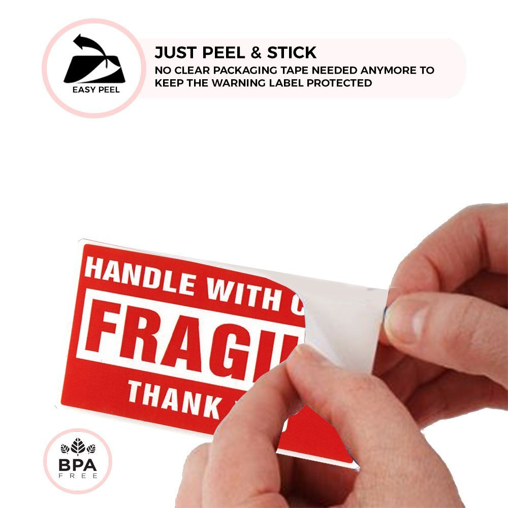 Red Fragile Labels for Brittle Objects