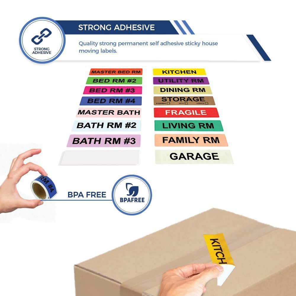 label on box, color coded moving labels, packing box labels, moving house stickers, this is a set do not separate