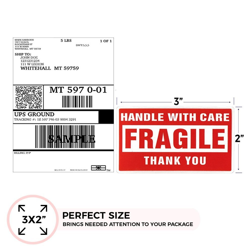 """000 Labels] 2 x 3"""" Fragile Stickers Handle With Care Warning Packing / Shipping Label - Permanent Adhesive"""