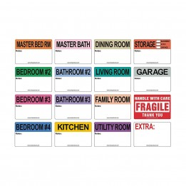4 Bedroom House – Color Coded Moving Labels 2″ x 3″ with Notes Section (800 Labels)