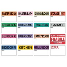 800 Extra Large Home Moving Labels 2 x 3 Inches - Colored Label Supplies for Boxes