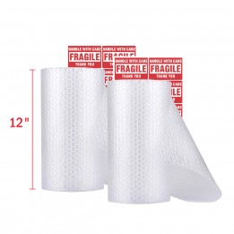 Bubble Cushioning Wrap – 36 feet/Roll with 20 Fragile Labels