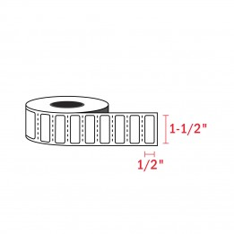 1-1/2″ x 1/2″ – Zebra Compatible Labels (2350 Labels / Roll)