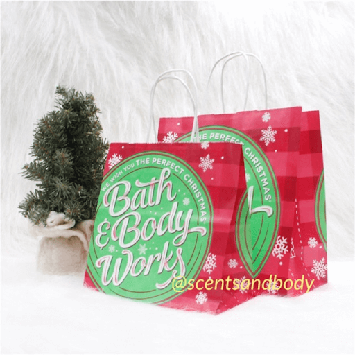 bath and body works packaging carton bag with christmas accents