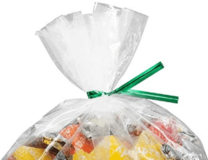 bright colored seal for packaging candies in a plastic pack