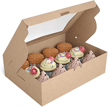 decorative cupcakes in a brown packaging box seethrough at the top
