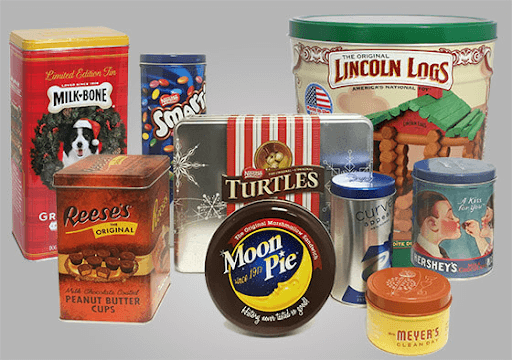 food packaging in different sizes and labels