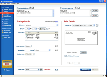 postage details and print details for online printing postage