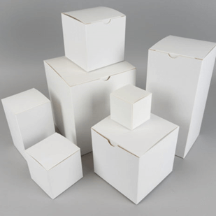 stack of white packaging boxes in gray background