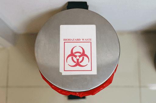 A biohazard waste bin