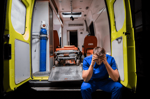 A burned out medical worker