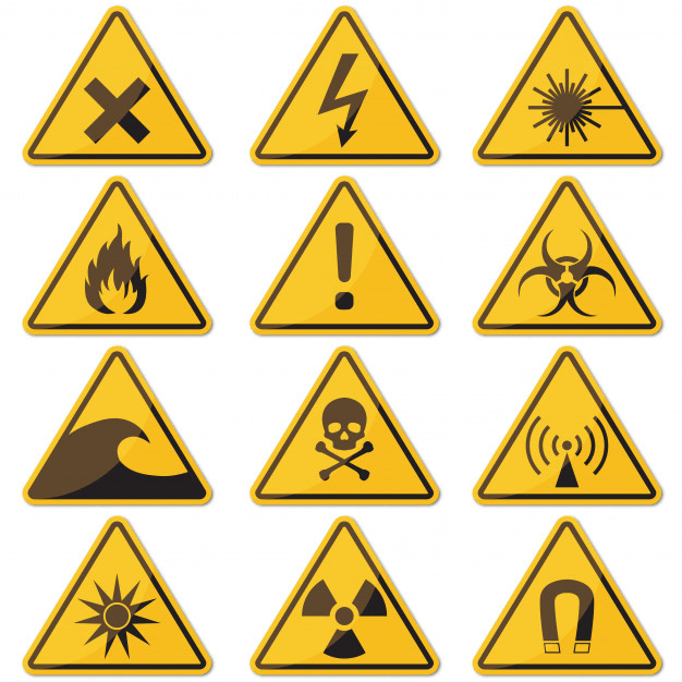 A collection of hazard signs