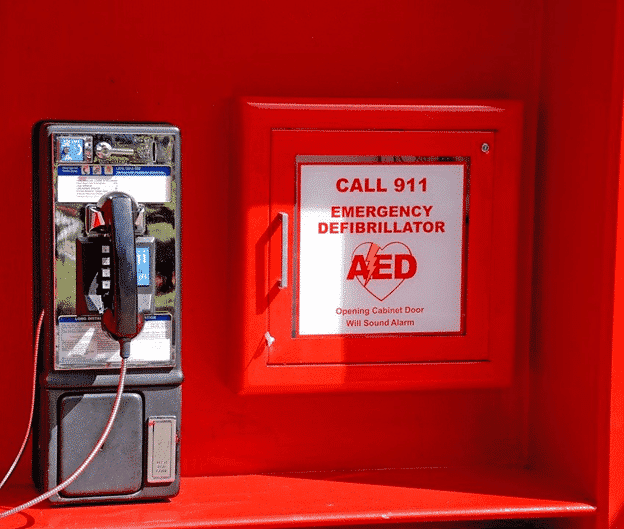 A labeled AED (a general safety sign)