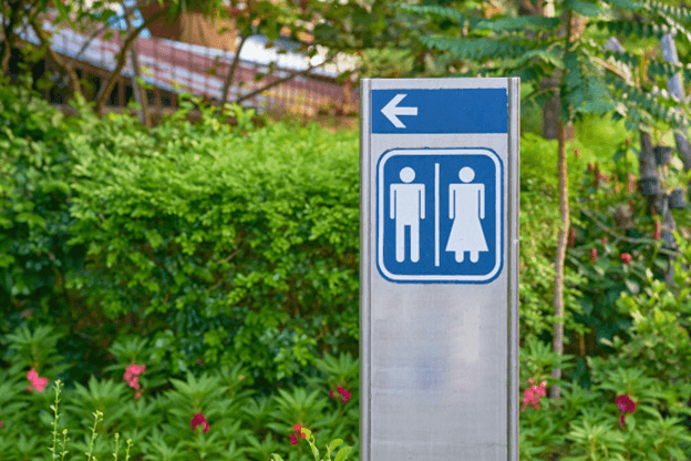 A toilet sign (a non-hazard label)