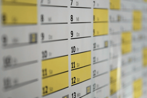 A wall calendar ready for labeling