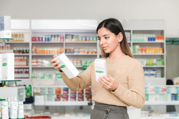 Customer examining product labels