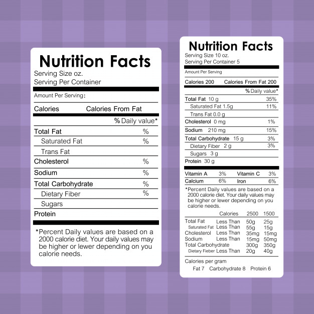 Example of nutritional labels