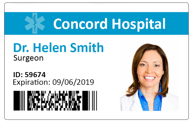 Concord hospital employee's badge