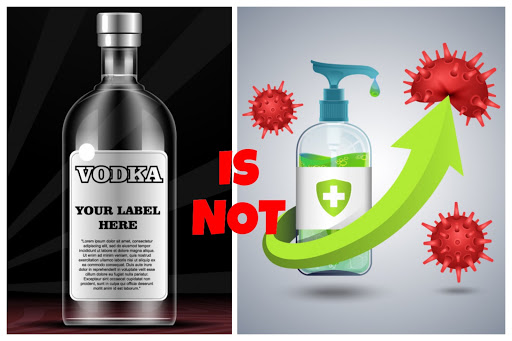 Vodka and alcohol-based antiseptic