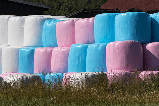 hay bales wrapped in specially made stretch film