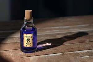 bottle with toxic label