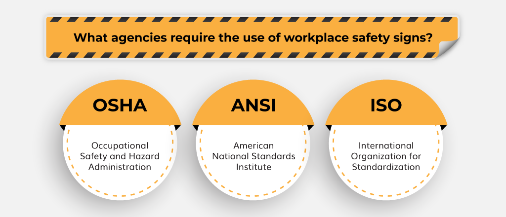 What agencies require the use of workplace safety signs?
