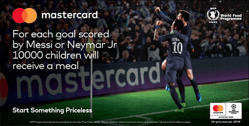 mastercard free meals donation for children for each goal scored by Messi or Neymar Jr