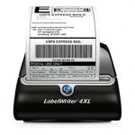 A Dymo LabelWriter 4XL printing a label