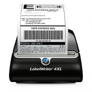 A Dymo LabelWriter 4XL printing a label