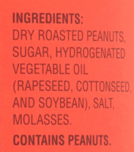 List of Ingredients and value added products