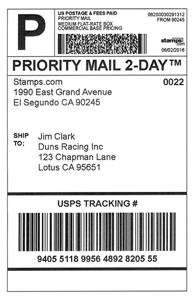 "A standard shipping label. The size is 4"" x 6"""