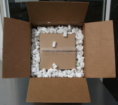 A double-boxed fragile item