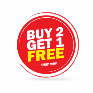 A food discount ad, buy 2 get 1 free