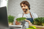 A man selling micro-greens online