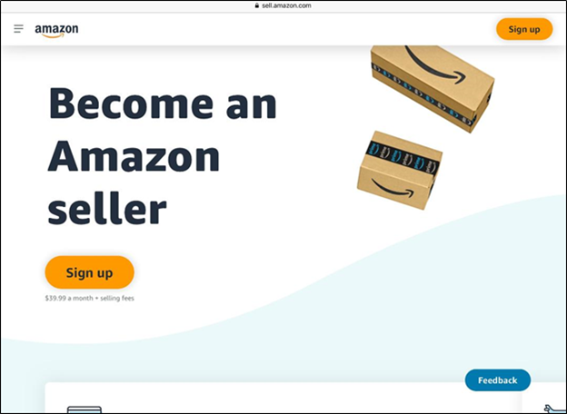 Amazon sellers' main page