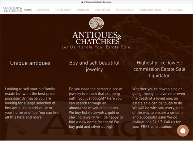 Antique and Chatchkes website