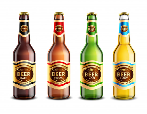 different colors of beer bottles