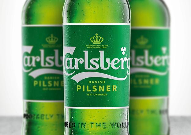 Carlsberg's bottle and  beer label design
