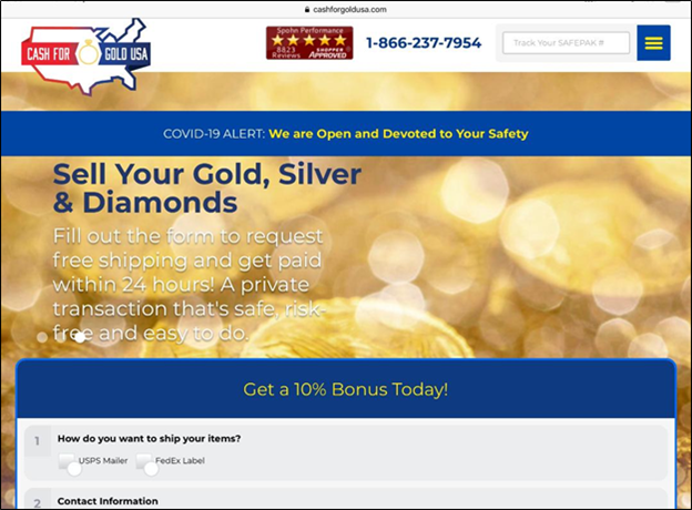 Cash for Gold USA site