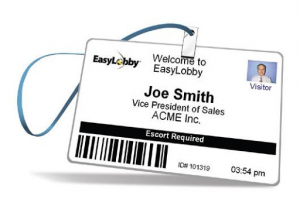 A Code 39 barcode on a badge