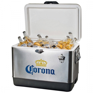 A cooler full of labeled Corona beer bottles