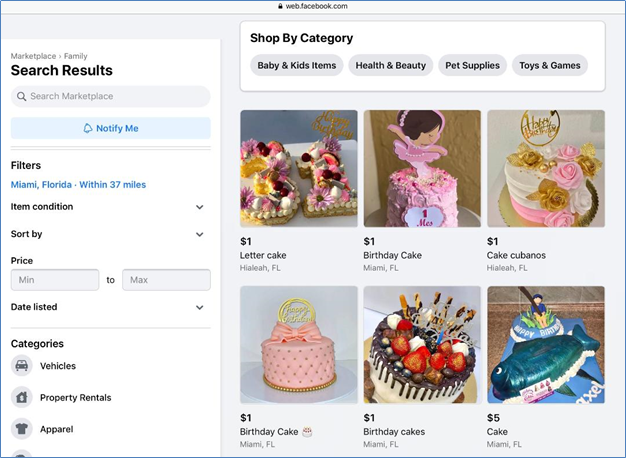 Facebook Marketplace search page