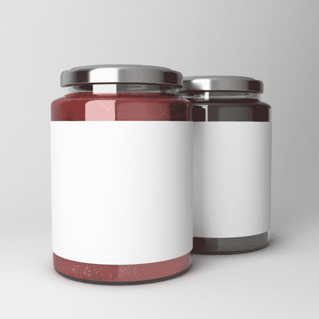 Differently flavored fruit jams in glass jars