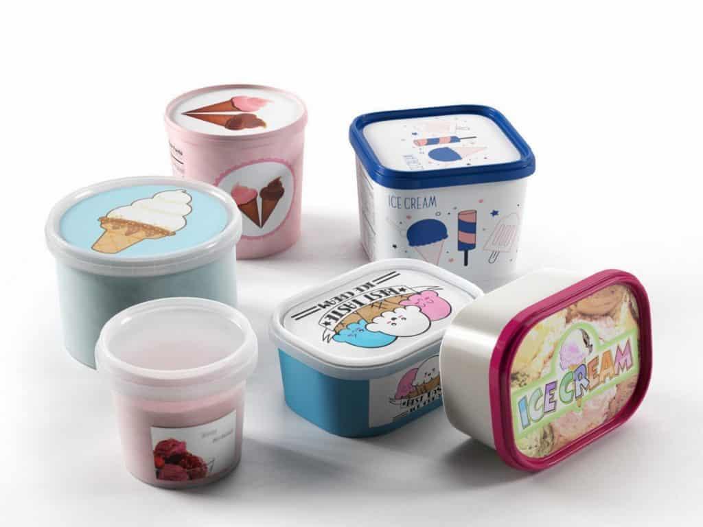 Polyethylene ice cream containers