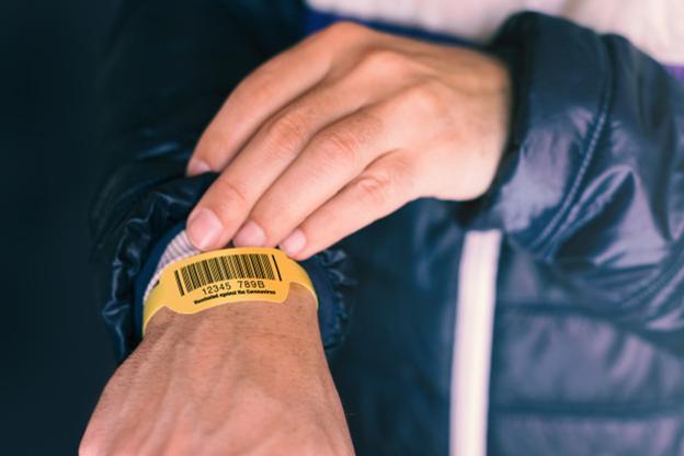 A patient bracelet bearing a barcode