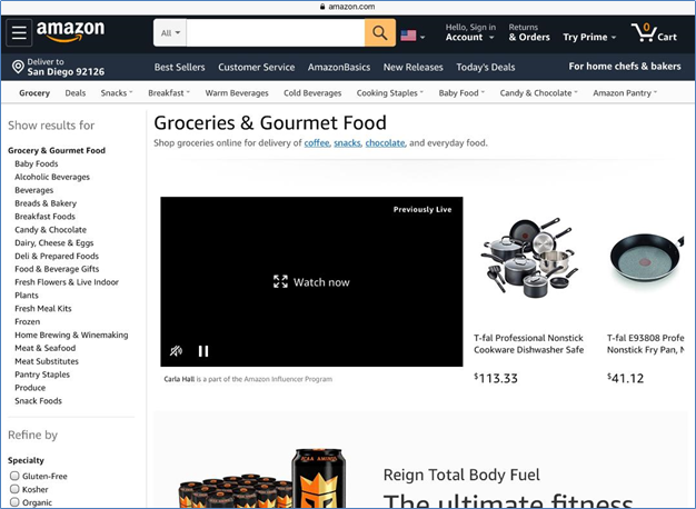 Amazon Groceries and Gourmet Food page