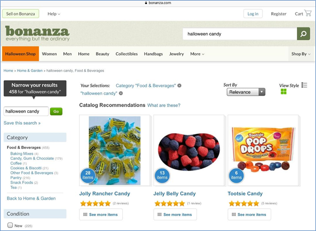 Bonanza website Halloween candy search page