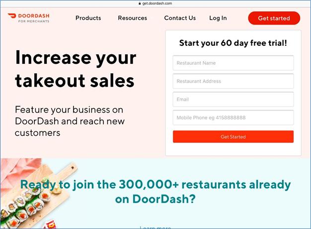 DoorDash seller registration page