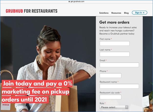 Grubhub seller registration page