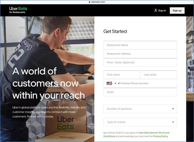 Uber Eats seller registration page